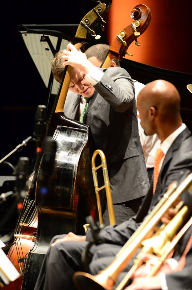 Performing alongside Carlos Henriquez with the Jazz at Lincoln Center Orchestra. Photo by Frank Stewart.