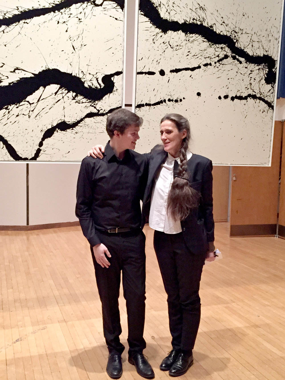Standing alongside French painter  Fabienne Verdie  after the debut of a piece inspired by her work,  Energy Fields.