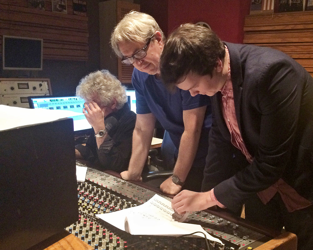 "Dan in the studio with acclaimed media composer Rick Baitz as a part of BMI's prestigious, ""Composing for the Screen"" film scoring mentorship program."