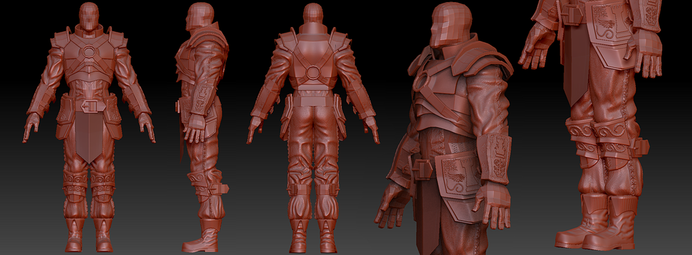 Modeled base mashes in Maya. Sculpted with Zbrush.