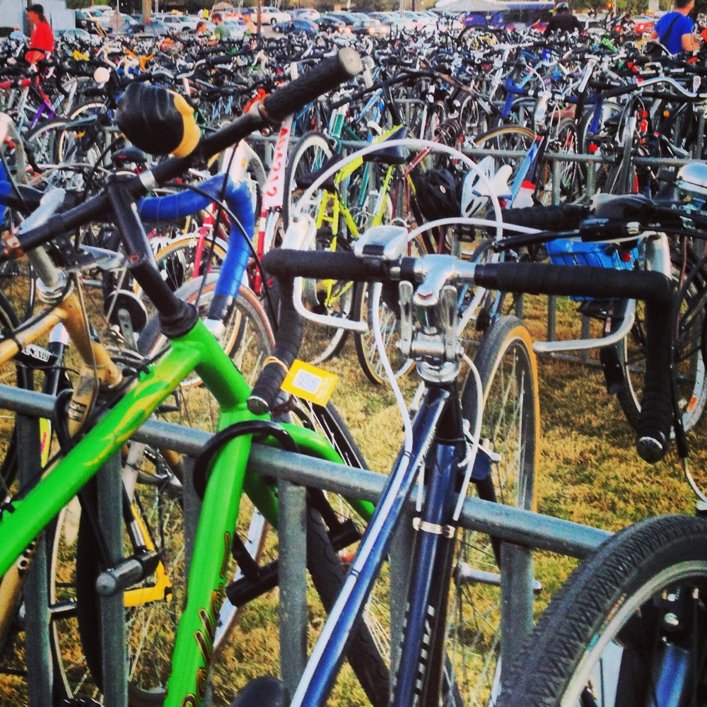 Bikes as far as the eye can see at Auditorium Shores.