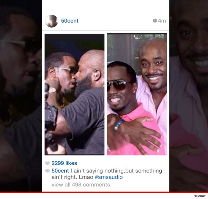 """50 Cent raised the stakes in his beef with 3 rap heavyweights -- publicly insinuating Diddy, Rick Ross and former record exec Steve Stoute are gay together ... but he backed down minutes later. The shots were fired Sunday -- Fiddy posted the 2 pics on Instagram, one showing a pink-shirted Stoute embracing a pink-shirted Diddy. The other shows Diddy and Rick Ross from an angle that makes it look like they're kissing. Underneath, 50 wrote the caption, """"I ain't saying nothing, but something ain't right. Lmao."""" He yanked the pics down a short time later. The photos were the latest in 50's ongoing feuds with the rap titans -- Stoute recently appeared in a VH1 documentary about hip hop, in which he called 50 a has-been. 50's been feuding with Rick Ross and Diddy for years. As for why he pulled the post ... 50 probably thought twice about starting a nuclear war. Read more: http://www.tmz.com/2014/03/03/50-cent-steve-stoute-beef-diddy-rick-ross-gay/#ixzz2uyznWAhW"""