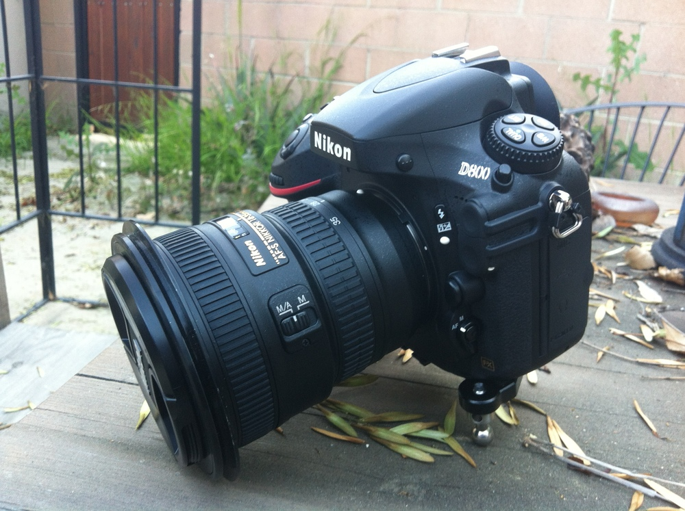 My new landscape rig, D800 + Nikkor 18-35mm G lens with Lee 77mm adapter ring.