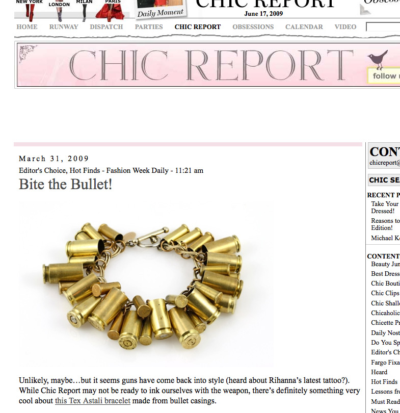 Fashion Week Daily's Chic Report writes about The Bullet Bracelet