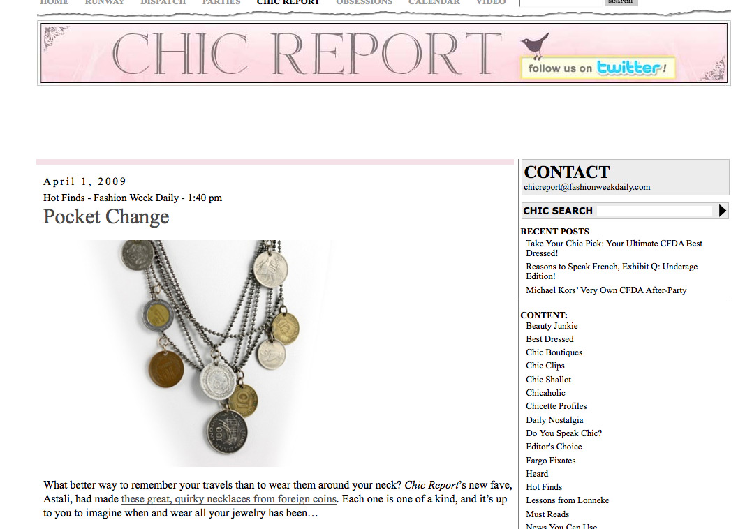 The Chic Report writes about the Coin Necklace