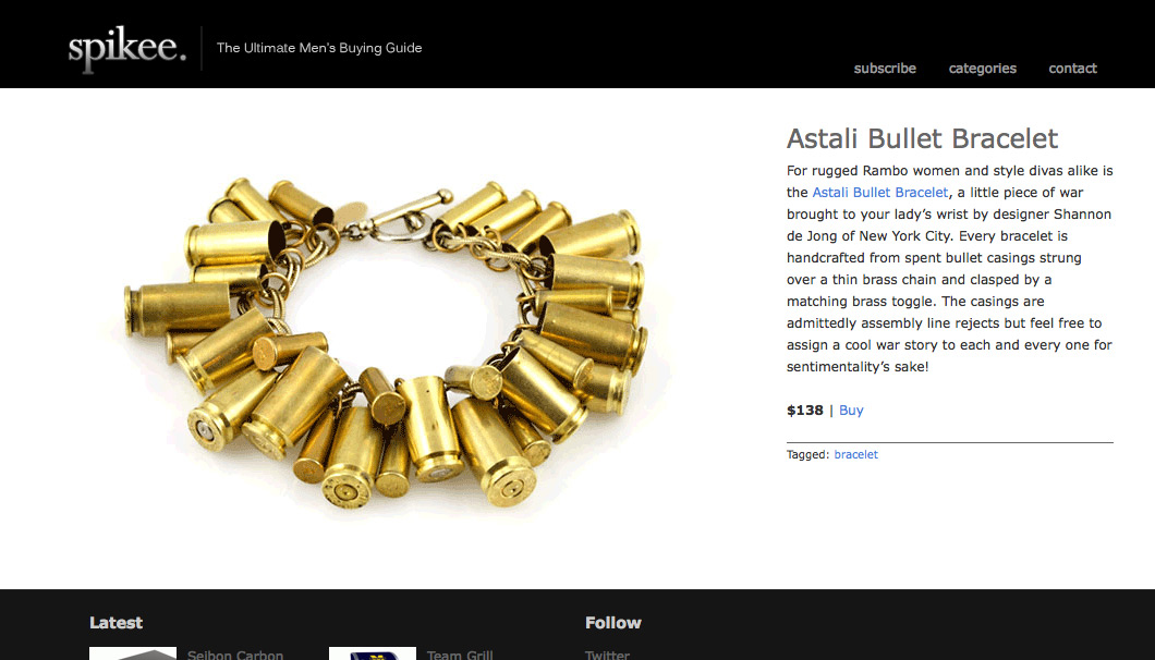 The Bullet Bracelet on Spikee
