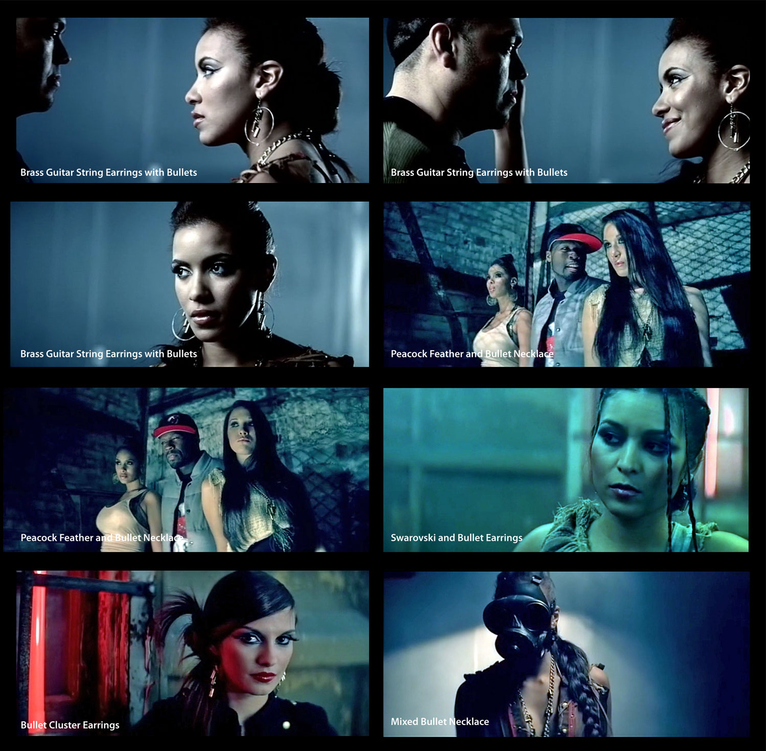 Astali Bullet Jewelry featured in video for Mujeres En El Club featuring 50 Cent