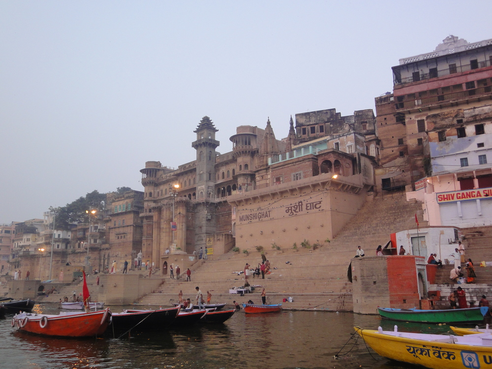 Boats in waiting on The Ganges in Varanasi, India.