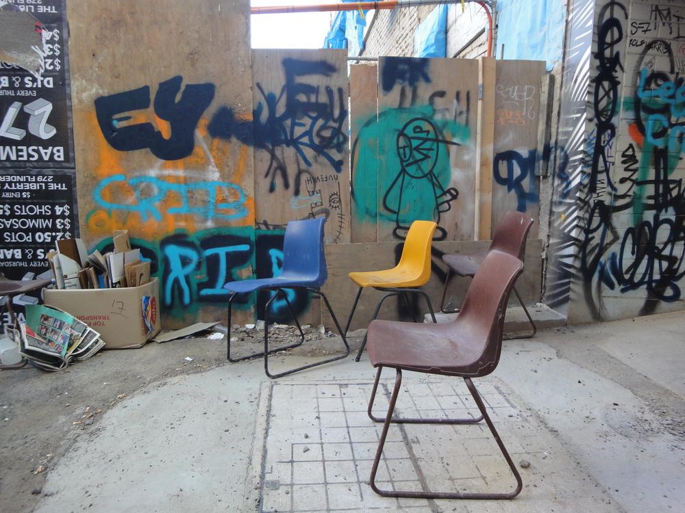 Random chairs behind Cherry Bar on AC/DC Lane in Melbourne, Australia.
