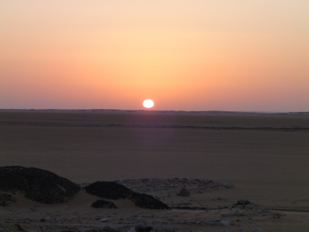 A desert sunrise en route to Abu Simbel, Egypt.