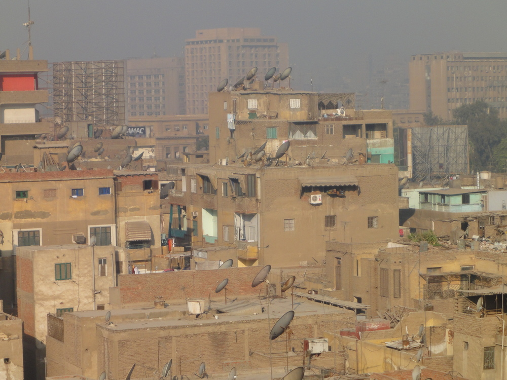 Looking over a residential skyline in Cairo, Egypt.