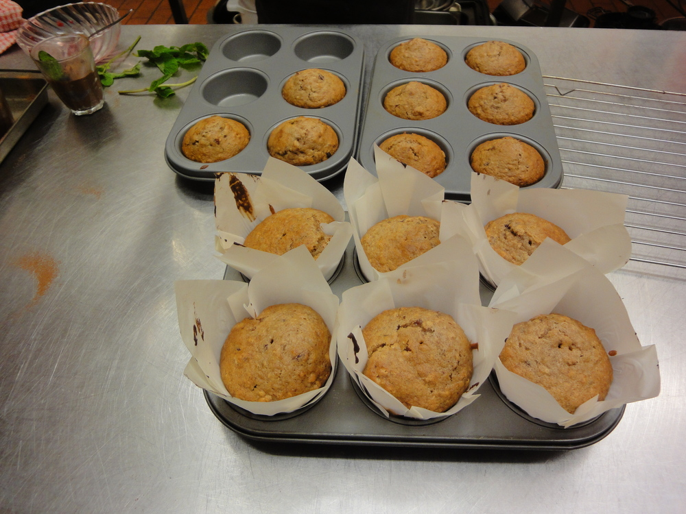 Sweet smelling muffins fresh out of the oven.