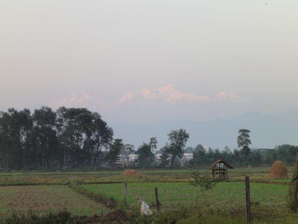 Chitwan National Park Annapurna mountain range.JPG