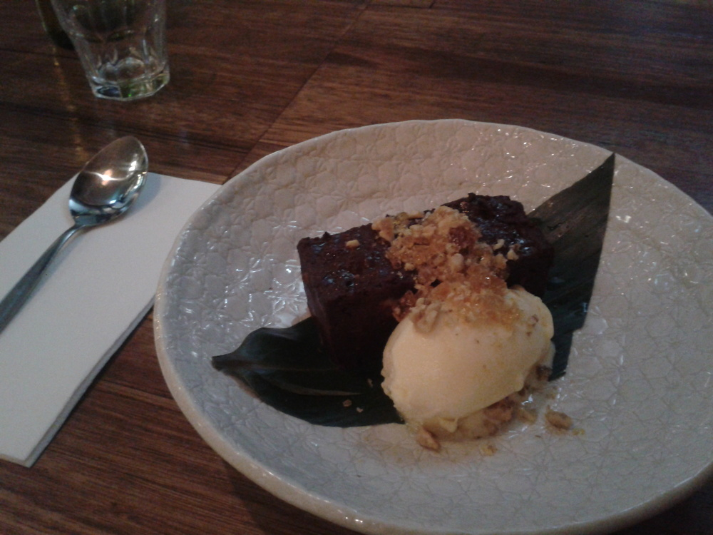 My yummy dessert at Sister of Soul - chocolate and beetroot cake with a fruity sorbet and praline.