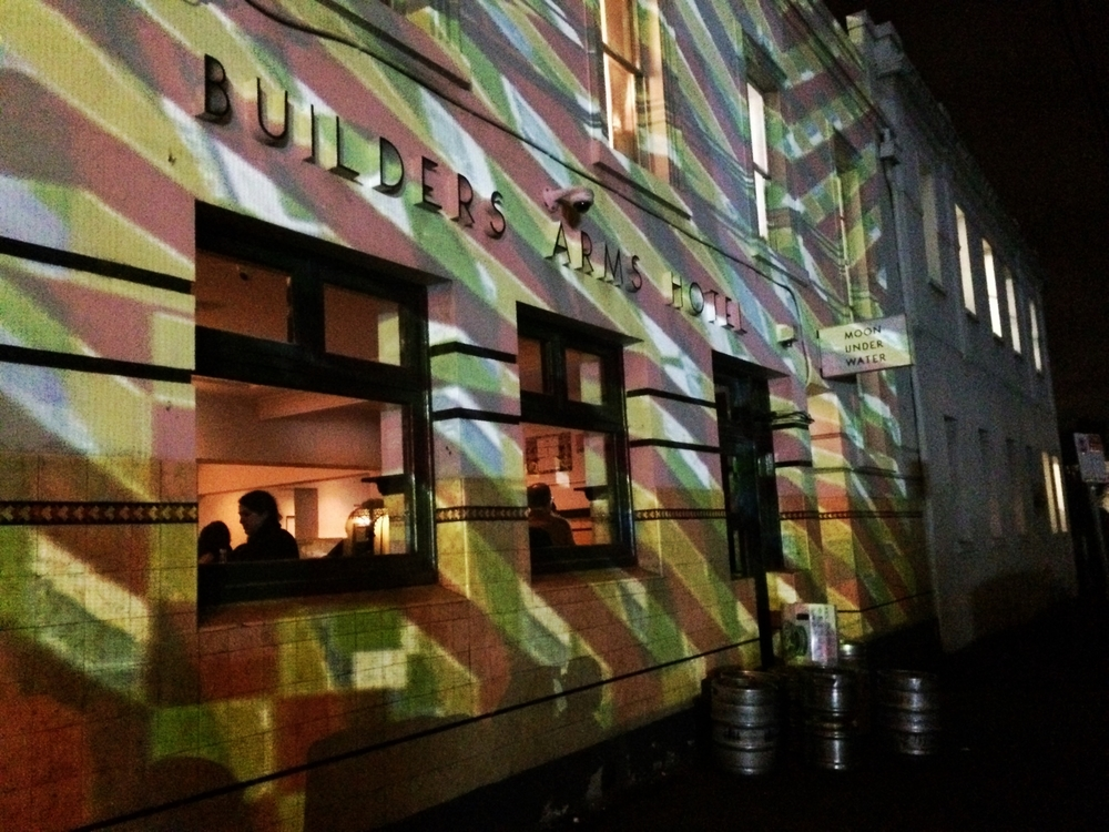 A series of projected works at The Builders Arms Hotel by Ian de Gruchy, Nick Azidis and Amanda Morgan.
