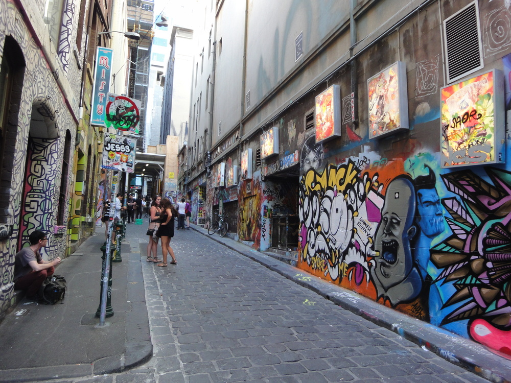 Checking out Melbourne's street art laneways - all for free!