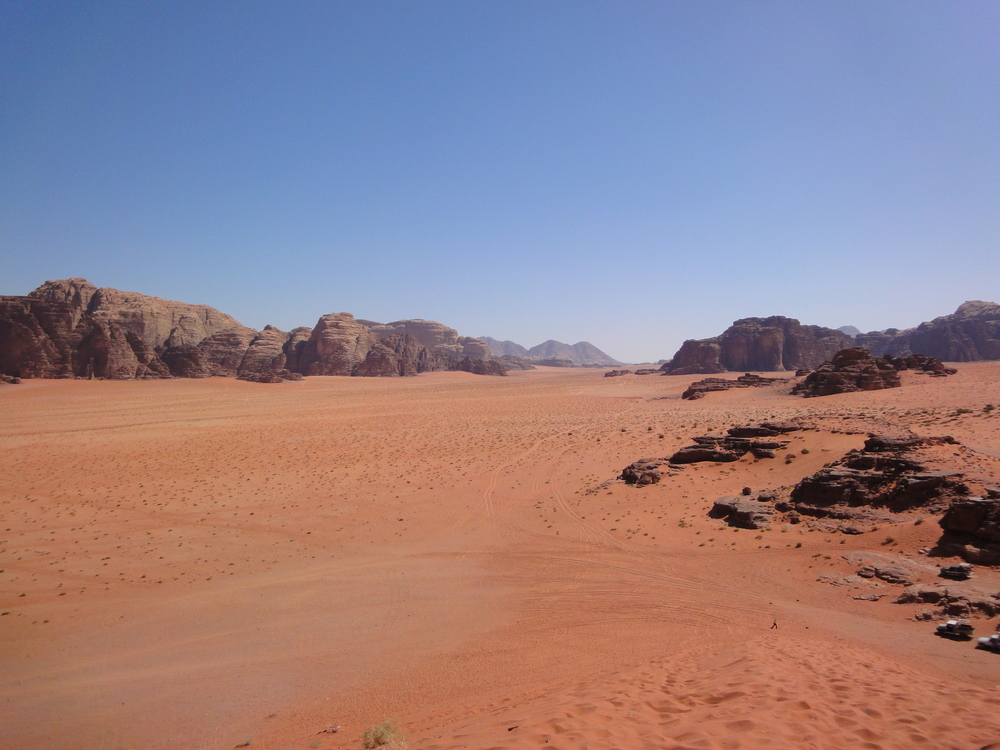 The vast expanse of Wadi Rum in Jordan.