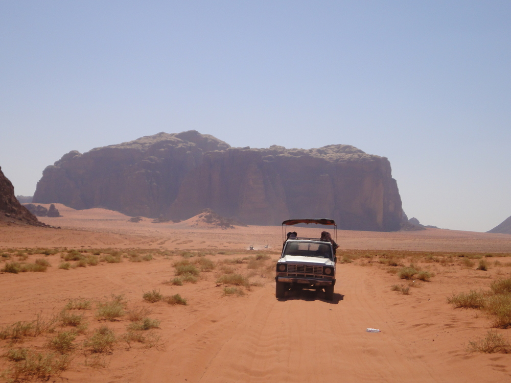 Cutting our way through the desert at Wadi Rum.