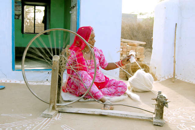 A local Thar Desert woman spinning the charkha. Photo credit: Ashok Bishnoi
