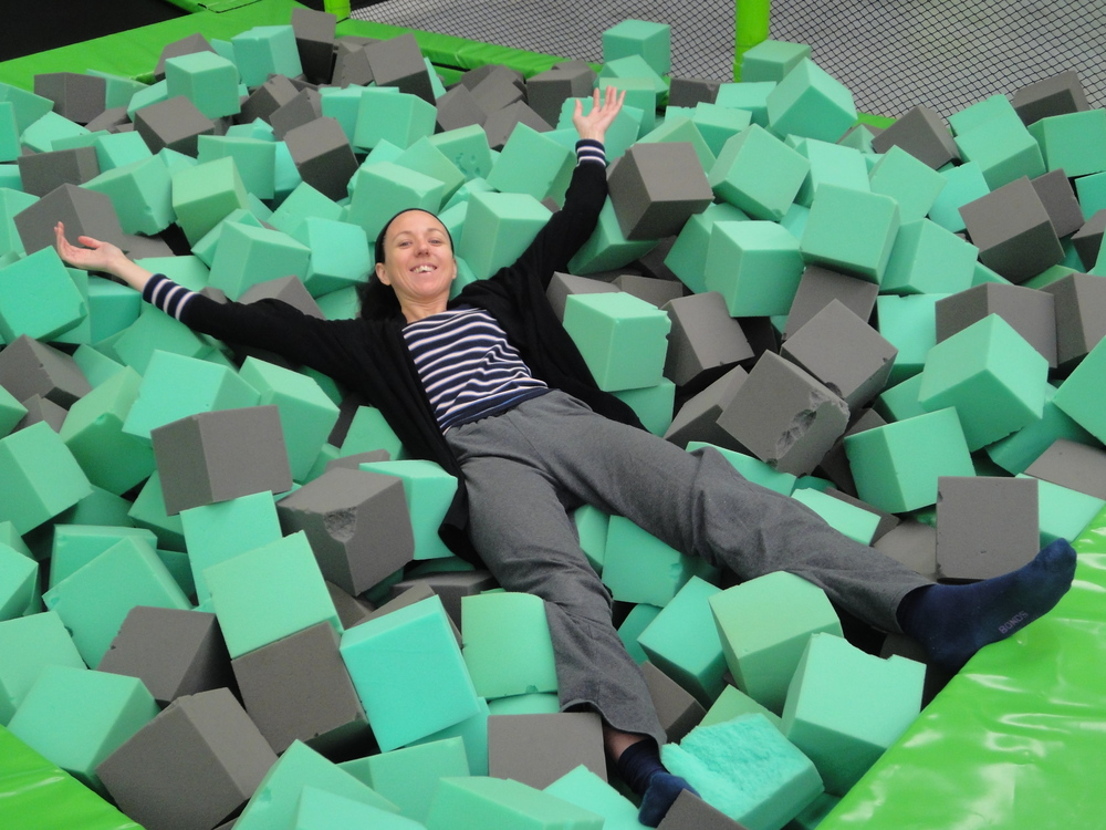 Me landing into a pool of foam. I started even before putting my grip socks on. Keen!