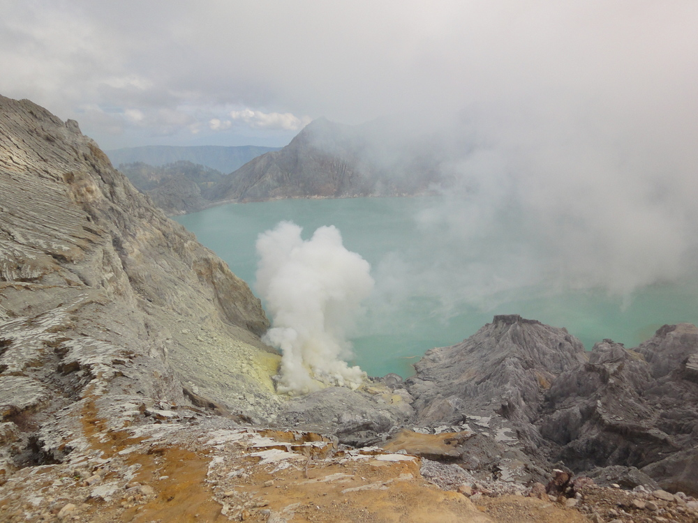 A view into the volcano at the top of Mount Ijen in East Java.