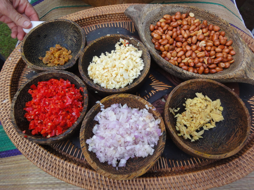 Some ingredients for making Balinese staples including sate and sambal.
