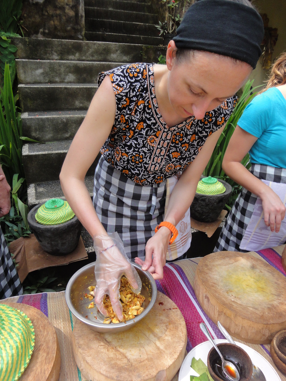 Me having an incredible time during my Balinese cooking class in Bali last year.