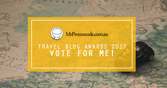 Hoorah! I've been nominated for a Travel Blog Award by MrPromocode.com.au! Click through and vote for me.