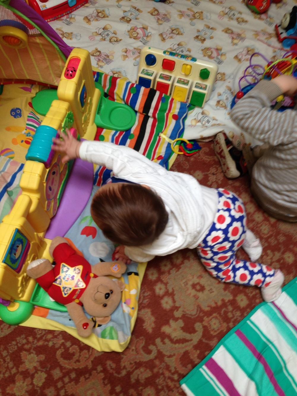 Enjoying the toys at toddler group