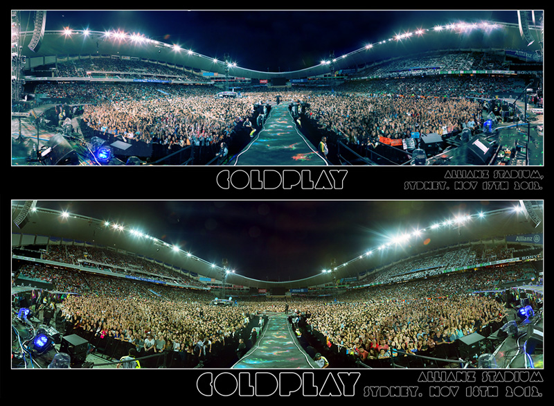 Panorama images above are taken from Coldplay's official Roadie #42 cam. Download the hi-res version here.