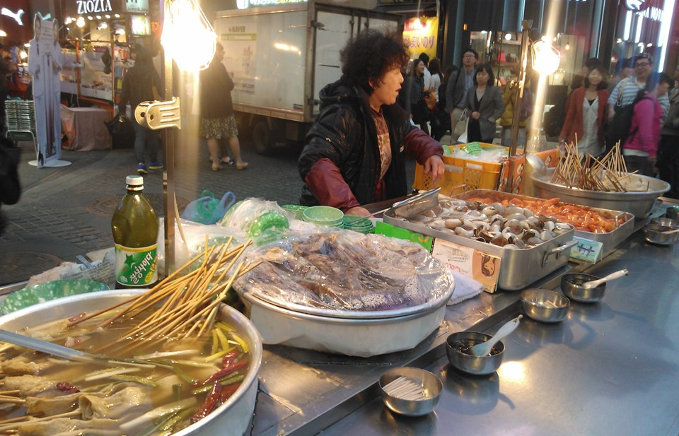 One of the street food carts in Myeongdong