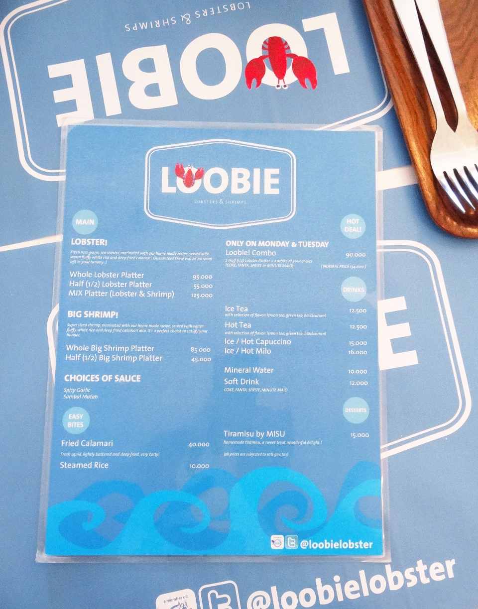 Loobie Lobster Full Menu.