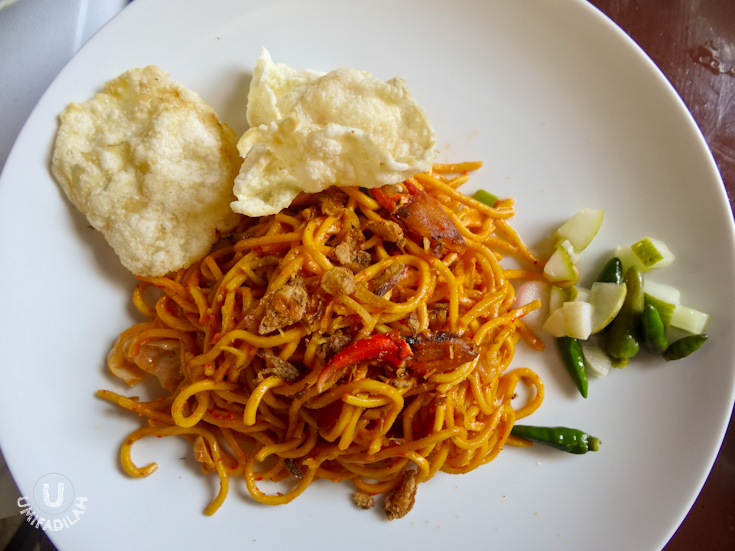 "Mie Aceh Daging. If you're into spicy food, then you should try this one. I must say, what we had that day was SUPER hot it made us went ""uuuhhh.."" ""aaaah"" after just one bite. I don't know if it's usually that hot, or my tolerance to spicy food has just gone worst from time to time. If they have the option to adjust its spiciness level then that would be more awesome!"