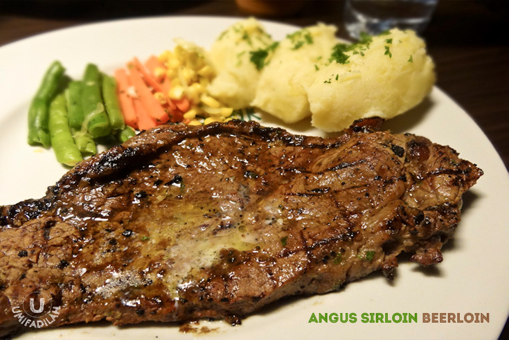 """Beerloin . Beer marinated to get an even more tender steak with unique aroma.""    We ordered the regular Angus but when I took my first bite I was like, ""Did we ordered regular Angus or Super Black Angus?"" It's so tender it almost melts in your mouth, no extra chewing effort required."