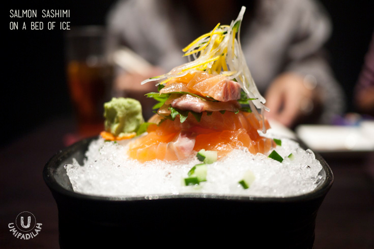 Salmon Sashimi (IDR 63k)  – Fresh and thick salmon cuts are being stacked up and garnished with white & yellow radish, kyuri, and some Japanese herbs; and finally being served on a bed of ice. It's definitely my first Sashimi on a Bed of Ice! Other than beautiful plating, the point is that they want you to enjoy salmon at the freshest, best temperature. Little thing like this is something that made me smile and I just knew it right away, I made a great decision by giving Sumiya a try.