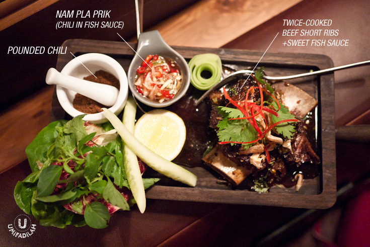 Twice-Cooked Beef Short Ribs with Sweet Fish Sauce, Cucumber and Nam Pla Prik (IDR 220k).   At first, I didn't quite like each element of the dish because I found the short ribs were too sweet, the pounded chili too hot and salty, and the Nam Pla Prik too tangy. But at some point when Chef Will sat right next to me, he told me that I ate them wrong! You're supposed to take a slice of the beef, and dip it to the Nam Pla Prik (chopped chili in fish sauce), and dust them lightly with the pounded chili. HE SHOWED THE STEPS AND THEN FED ME A FORKFUL, and suddenly everything tasted so much better, LOL. No, seriously. With the right sequence, you get an explosion of flavor, the combo of all powerful taste – salty, sweet, sour, and hot – creates a harmonious balanced flavor. Surprisingly great.
