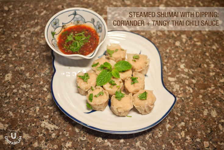 Coriander with Tangy Thai Chili Sauce. I used Shrimp Shumai for this.