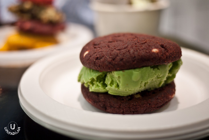 Red Velvet Cookies with Matcha Ice Cream.