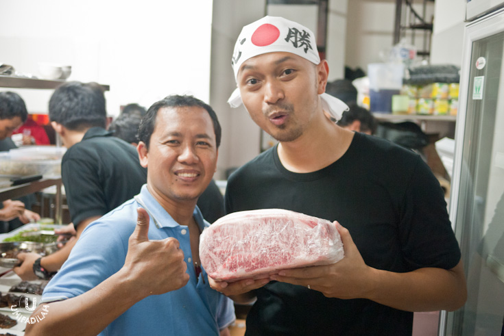 Chef Afit and his Executive Chef at HolyGyu, holding the almighty Kobe bundle.