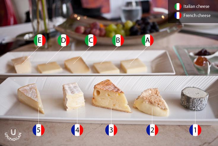 Italian cheese (top, blur): A – Scimut. B – Latteria Delebio. C – Mattusc Misto Capra. D – Valtellina Casera Dop. E – Parmigiano Reggano 36 month.  France cheese (bottom): 1 – Sainte Maure De Touraine Formage de Chévre au Laite Cru. 2 – Camembert Affine au Caluados. 3 – Fermier au Lait Cru Le Granol Bornand Reblochon. 4 – Le Bon Normand Pont Leveque. 5 – Livarot de la Perelle Calvados.