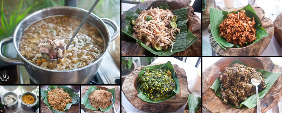 From the Nasi Campur Manado buffet (clockwise from top-left) - Oxtail soup with local beans and moringa leaves, Ayam Kecombrang, Cakalang, Ayam Tinoransak, Tumis Bunga Pepaya, shredded smoked fish from Halmahera, gluten-free glass noodles, and selection of Nasi Kuning (yellow aromatic rice) or Organic rice menthik susu Magelang.