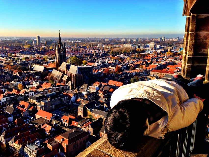 On top of Delft (at Nieuwe Kerk Delft). This is also his current Facebook photo cover..