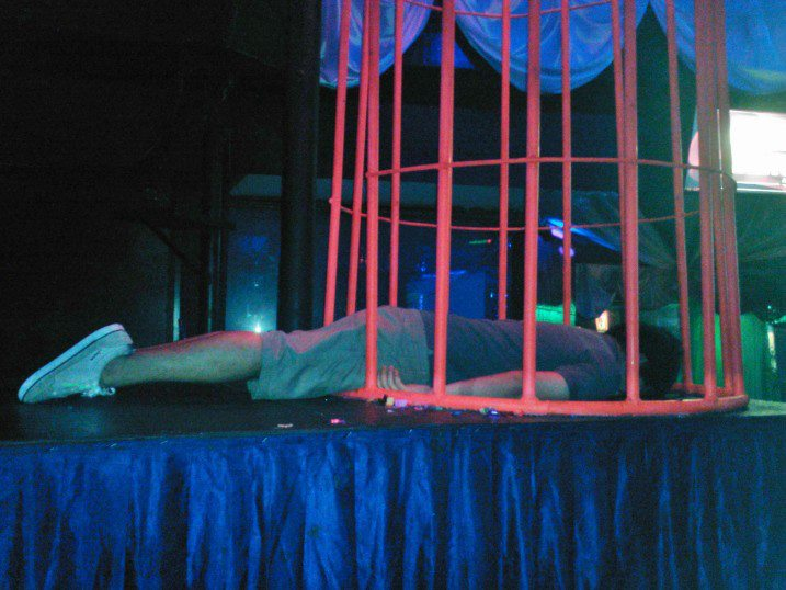 Inside a Dance cage in Bounty Club, Legian Bali.