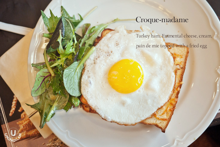Croque-madame (IDR 95k).    It's pretty much the same thing as croque-monsieur except with a fried egg on top.