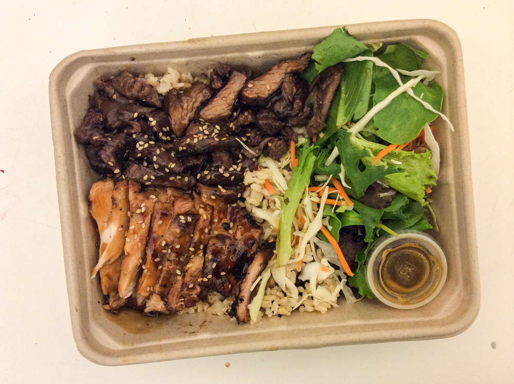 Combo!  Hanger Steak & Chicken Breast Teriyaki with Brown Rice and Sesame Salad Dressing ($10).  Yes, whenever you're feeling indecisive on what meat to have, opt for this Combo Package instead! Their Hanger Steak (which is marinated Japanese beef BBQ) wasn't dry at all, in fact it was as juicy as their grilled chicken. This was actually my first purchase on my first visit to Glaze Teriyaki, and this is what kept me coming back.