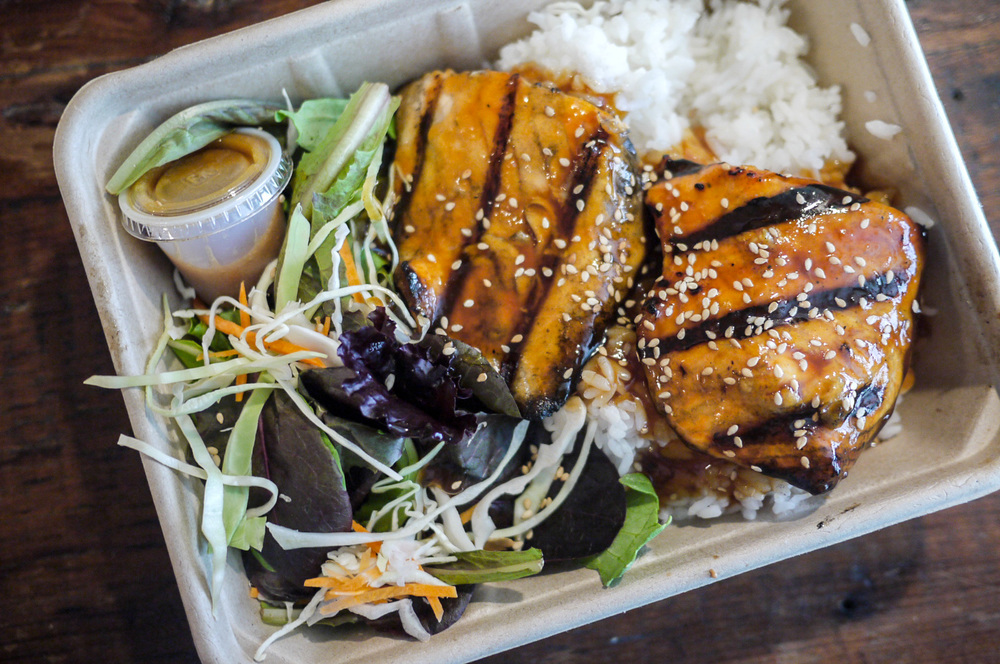 Salmon Teriyaki with White Rice and Sesame Salad Dressing ($9.50).  Here they claimed that their Salmon is always fresh, never frozen. Mine that day were as promised. When I took a bite, the flesh was so juicy and it just absorbs the not overly sweet teriyaki sauce. Definitely worth upgrading $2 from my previous Chicken Thigh meal..