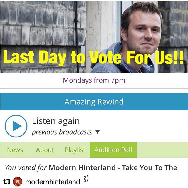 #Repost @modernhinterland with @get_repost ・・・ Last day to vote for us on Amazing Radio Audition Poll! We'd really appreciate your support by clicking the link in Bio 🙏🏻🤟✌️👍#yourvotemakesadifference #amazingradio #modernhinterland https://amazingradio.com/shows/audition/poll