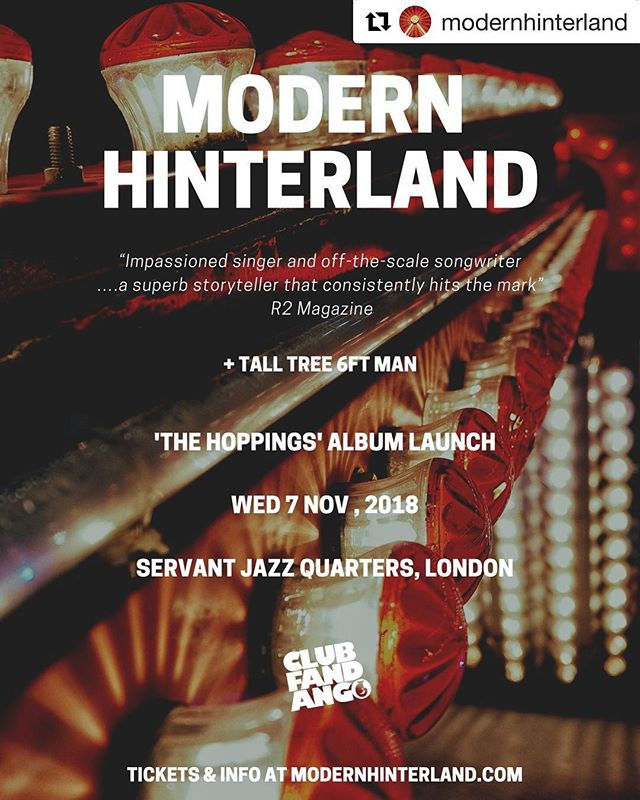 #Repost @modernhinterland with @get_repost ・・・ 🔔🔔 Album launch show! ✌️🤘👍🎉 7th November @servantjazzquarters with support from the absolutely ace #talltree6ftman . Get along, bring your friends it's gonna be a blast. Tickets here http://www.wegottickets.com/event/449396 (Link in bio) • • • #modernhinterland #newmusicradar #londongigs #ukamericana #indiefolk #labelfandango #newmusic #newalbum #albumlaunchparty #albumlaunch #dalston #thehoppings