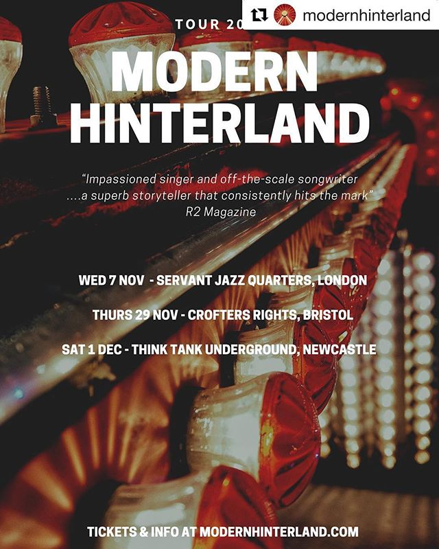 #Repost @modernhinterland with @get_repost ・・・ 🔔🔔Tour dates!🔔🔔 We are heading out on our first UK tour kicking off in London in November. Tickets and info 👉 http://modernhinterland.com/tour more dates coming soon!! ✌️🤘👌 • • • #modernhinterland #newmusictour #ukamericana #labelfandango #londongigs #bristolgigs #negigs #newcastlegigs #indiefolk