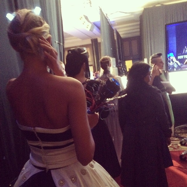 Waiting in line backstage of the @heruniverse fashion show @sdccgeekcouture #dalekweddingdress @LeetalPlatt #latergram